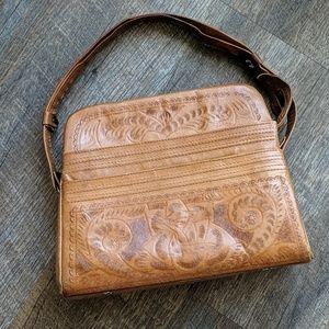 Vintage Leather Handbag Purse Flores Bags